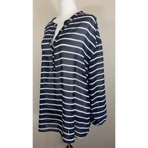 A.N.A. Black & White Striped Sheer Blouse